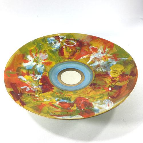 Keramikschale Blütenmuster (grün) Bild 1