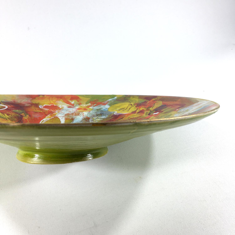 Keramikschale Blütenmuster (grün) Bild 2