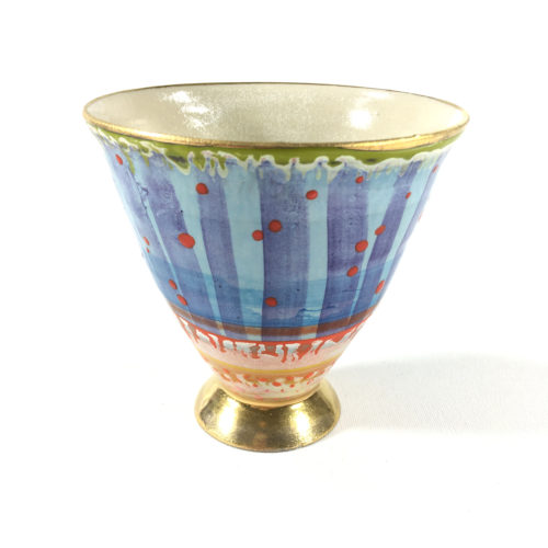 Keramikbecher Punktmuster (blau) Bild 1