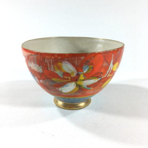 Keramikbowl Blütenmuster (rot) Bild 1