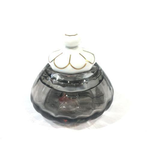 Glasdose mit Porzellandeckel Grau Bild 1
