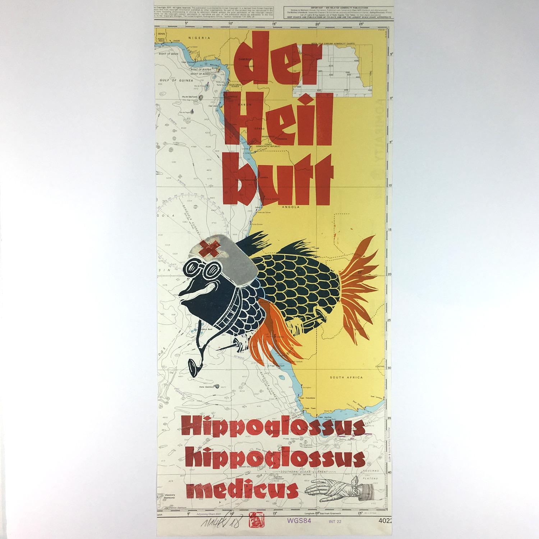 """""""Der Heilbutt"""" Mehrfarbdruck auf Seekarte Bild 2"""