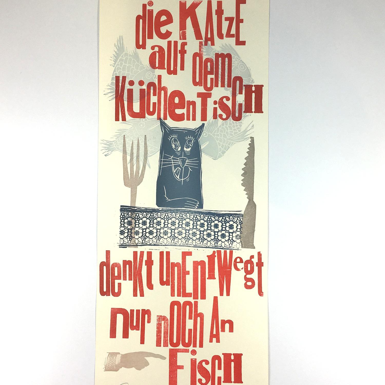 """""""Die Katze auf dem Küchentisch…"""" Mehrfarbdruck auf Munkenpapier Bild 2"""