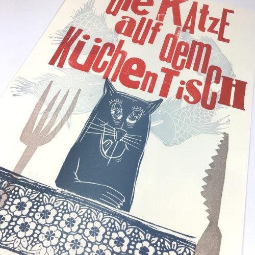 """""""Die Katze auf dem Küchentisch…"""" Mehrfarbdruck auf Munkenpapier Bild 1"""