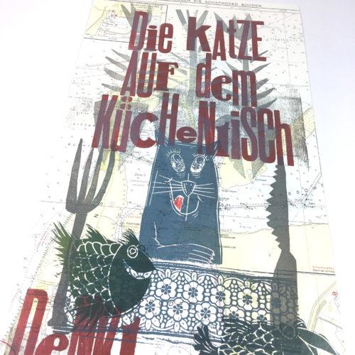 """""""Die Katze auf den Küchentisch…"""" Mehrfarbdruck auf Seekarte Bild 1"""