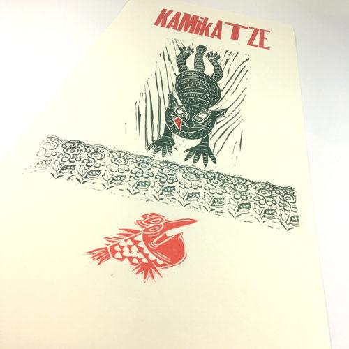 """""""Kamikatze"""" Mehrfarbdruck auf Munkenpapier Bild 1"""