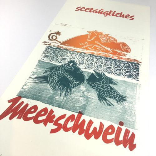 """""""Seetaugliches Meerschwein"""" Mehrfarbdruck auf Munkenpapier Bild 1"""