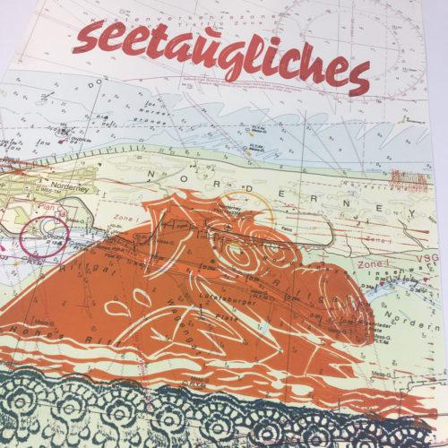 """""""Seetaugliches Meerschwein"""" Mehrfarbdruck auf Seekarte Bild 1"""