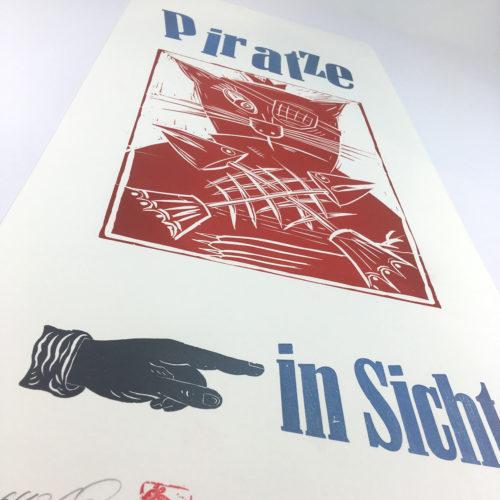 """""""Piratze in Sicht"""" Mehrfarbdruck auf Munkenpapier Bild 1"""