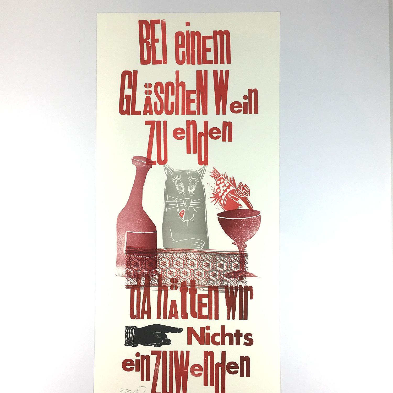 """""""Bei einem Gläschen Wein…"""" Mehrfarbdruck auf Munkenpapier Bild 2"""