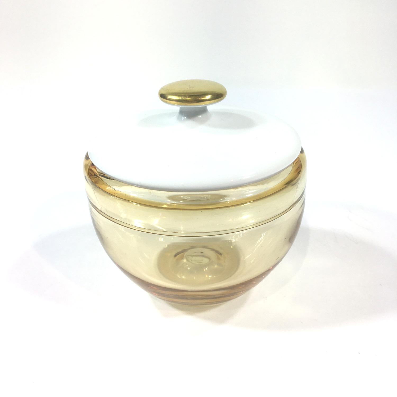 Glasdose mit Porzellandeckel Hellgelb Bild 2