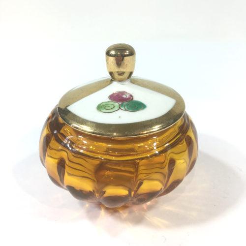 Glasdose mit Porzellandeckel Honiggelb Bild 1