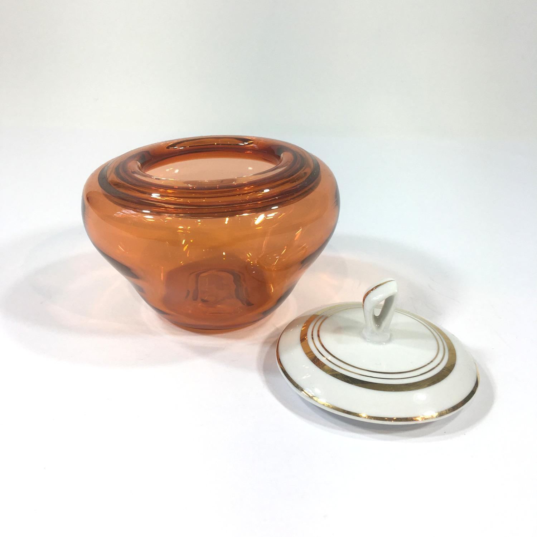 Glasdose mit Porzellandeckel Orange Bild 2