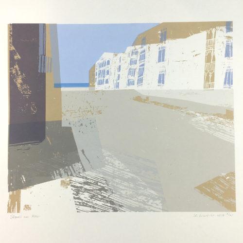 """Stadt am Meer"" Siebdruck Bild 1"