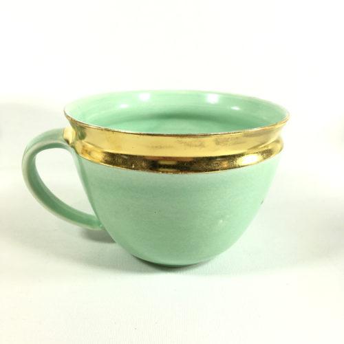 Porzellantassen-Unikat mit äußerem Goldrand (Mint) Bild 1