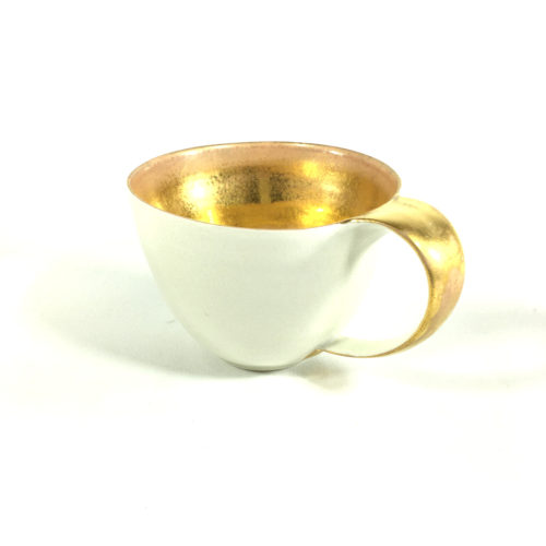 Porzellantassen-Unikat mit goldenem Innengefäß Bild 1