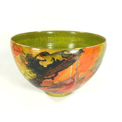 Keramikschale Abstrakt (grün/rot) Bild 1