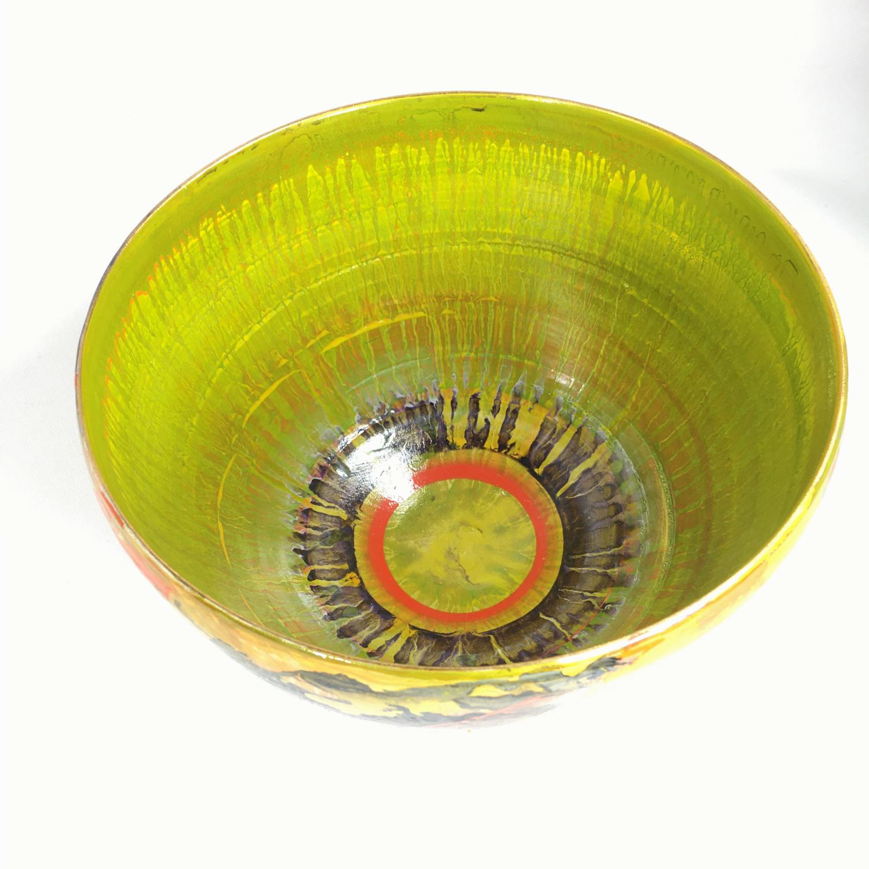Keramikschale Abstrakt (grün/rot) Bild 2