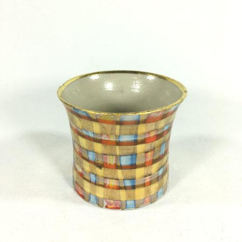 Keramikbecher Tartanmuster (blau/rot) Bild 1