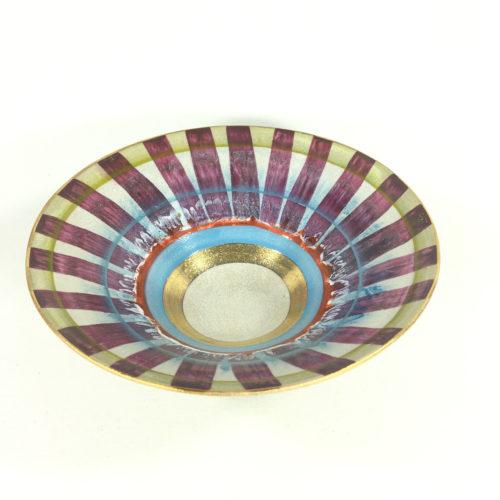 Keramikschälchen Streifen (aubergine/weiß) Bild 1