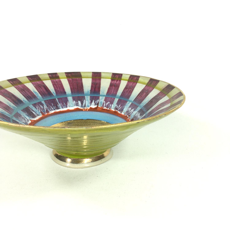 Keramikschälchen Streifen (aubergine/weiß) Bild 2