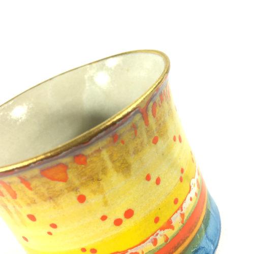 Keramikbecher Abstrakt (gelb/blau) Bild 1