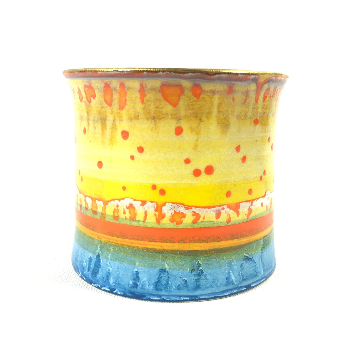 Keramikbecher Abstrakt (gelb/blau) Bild 2