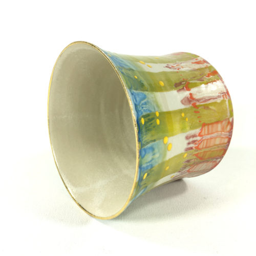Keramikbecher Abstrakt (grün/weiß) Bild 1