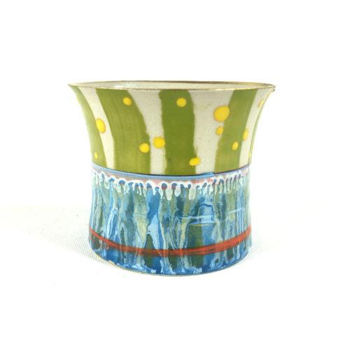 Keramikbecher Abstrakt (blau/gelb) Bild 1
