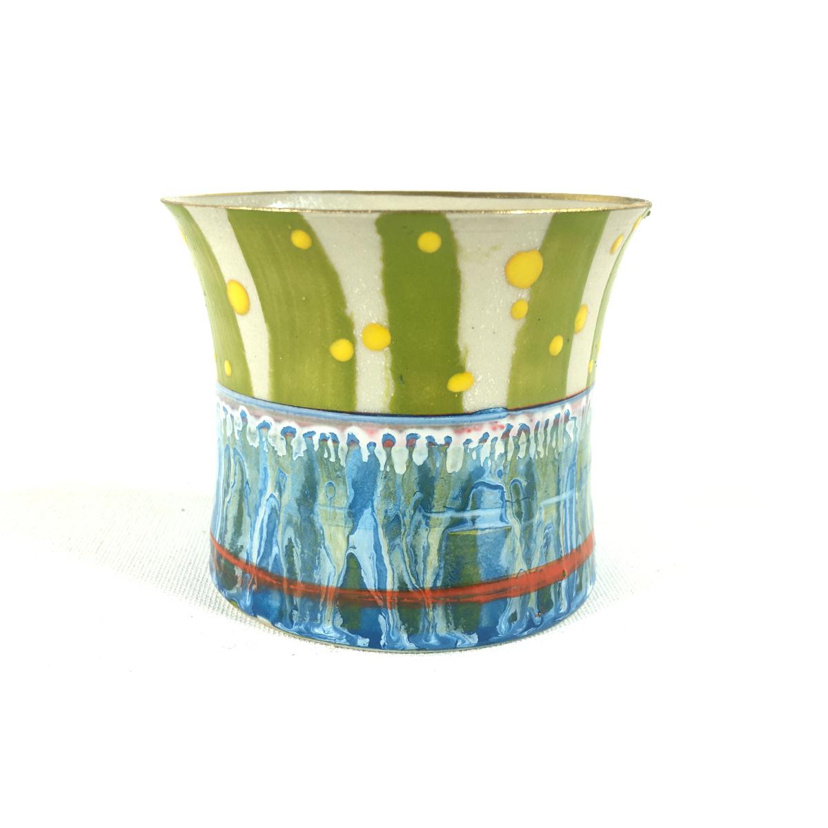 Keramikbecher Abstrakt (blau/gelb) Bild 2