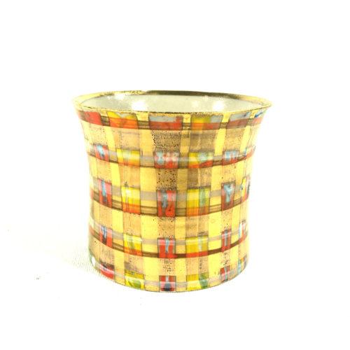 Keramikbecher Tartanmuster (gelb/rot) Bild 1