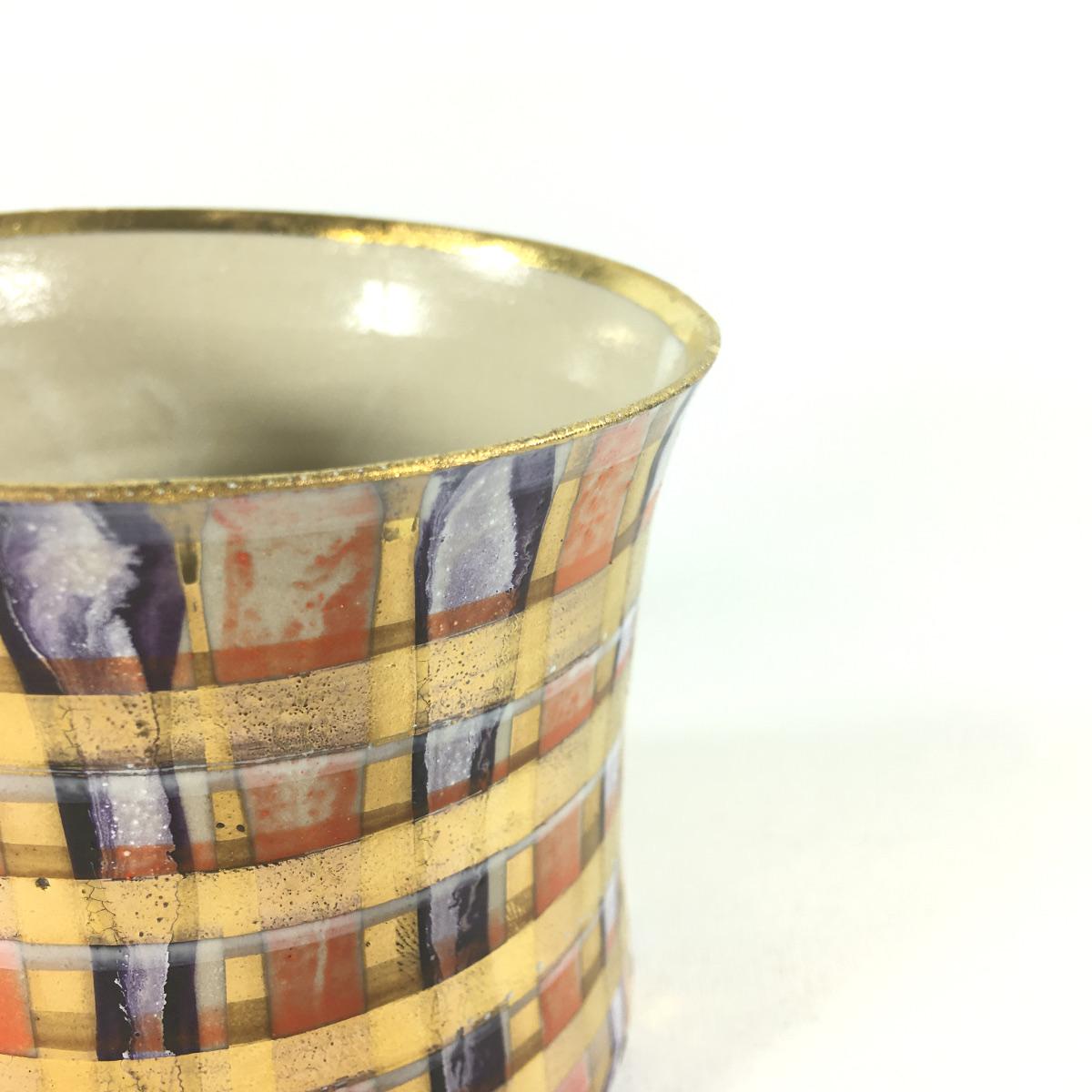 Keramikbecher Tartanmuster (violett/rot) Bild 2